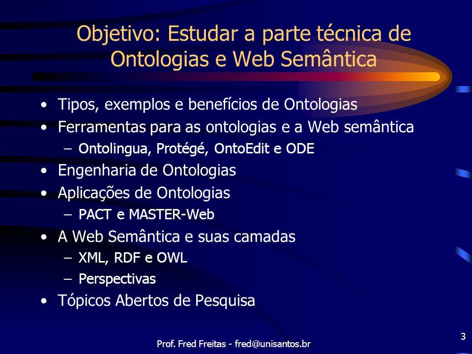 Objetivo: Estudar a parte técnica de Ontologias e Web Semântica