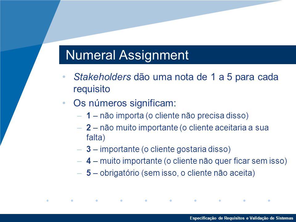 Numeral Assignment Stakeholders dão uma nota de 1 a 5 para cada requisito. Os números significam: 1 – não importa (o cliente não precisa disso)