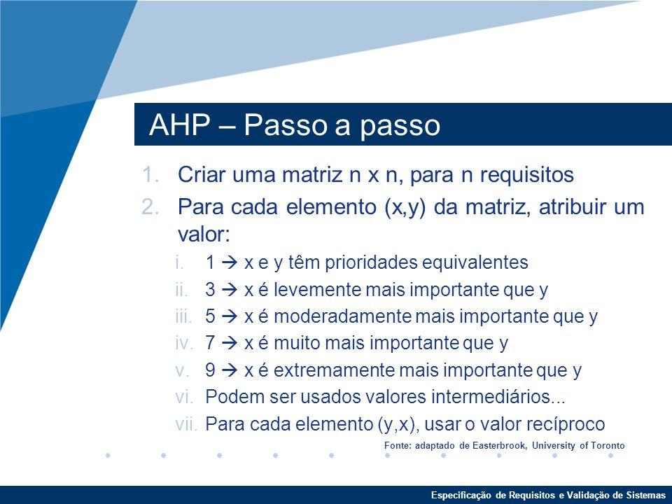 AHP – Passo a passo Criar uma matriz n x n, para n requisitos