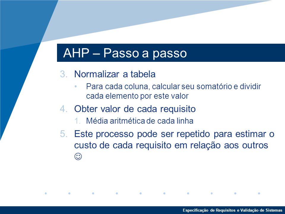 AHP – Passo a passo Normalizar a tabela Obter valor de cada requisito