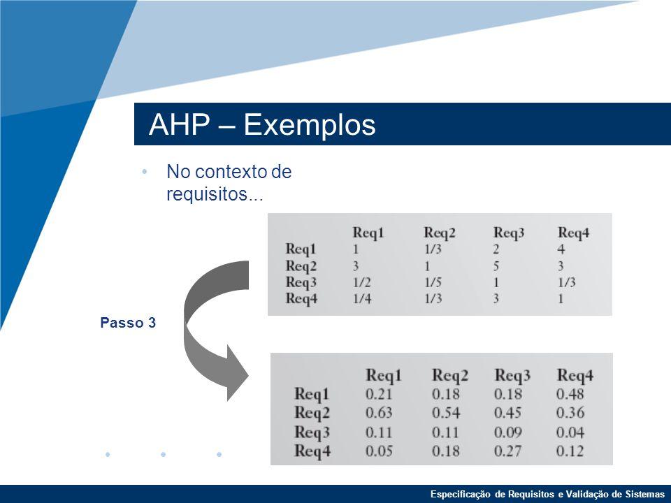AHP – Exemplos No contexto de requisitos... Passo 3