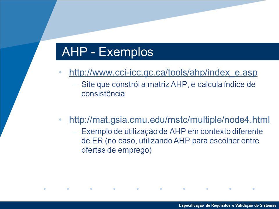 AHP - Exemplos http://www.cci-icc.gc.ca/tools/ahp/index_e.asp
