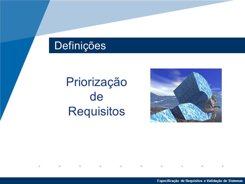 Priorização de Requisitos Definições