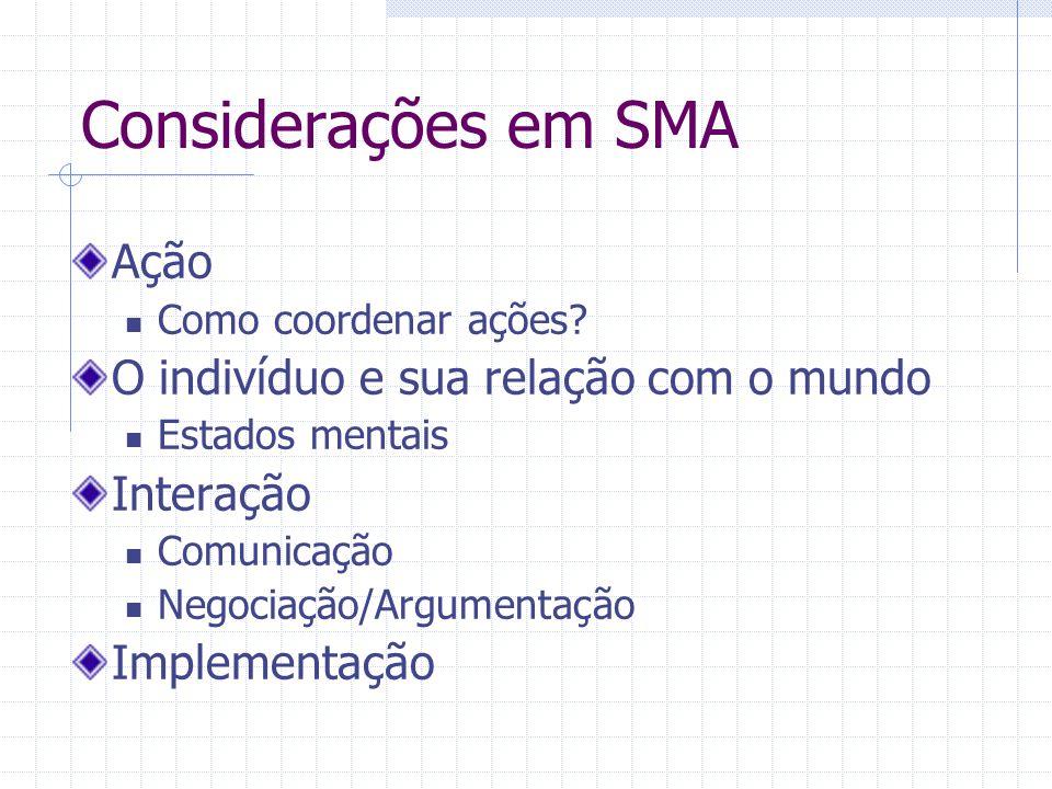 Considerações em SMA Ação O indivíduo e sua relação com o mundo