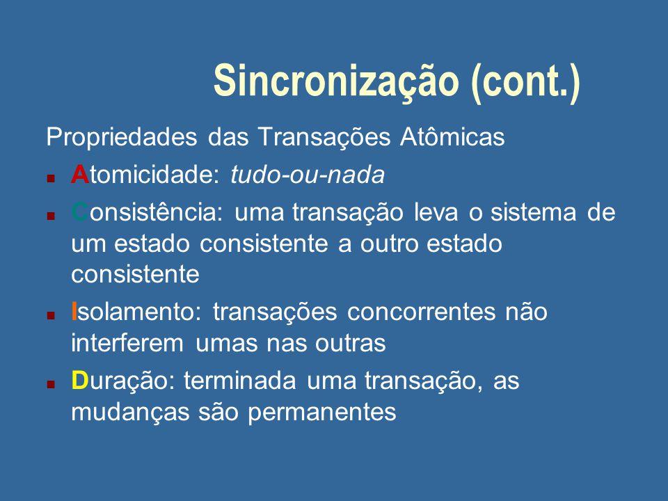 Sincronização (cont.) Propriedades das Transações Atômicas
