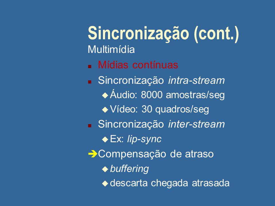 Sincronização (cont.) Multimídia Mídias contínuas