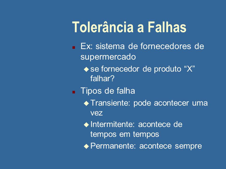Tolerância a Falhas Ex: sistema de fornecedores de supermercado