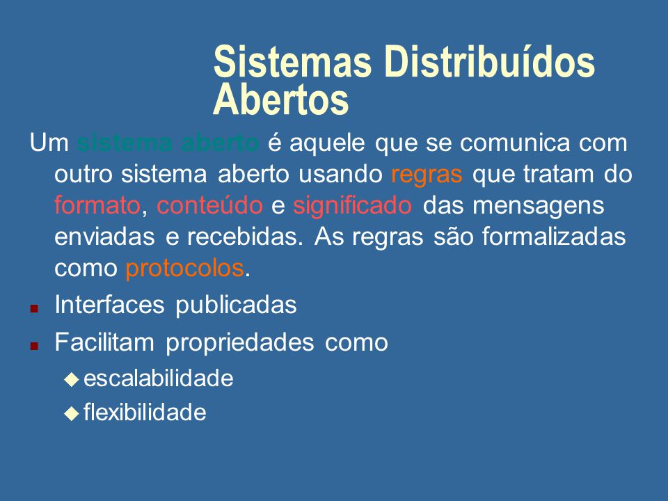 Sistemas Distribuídos Abertos