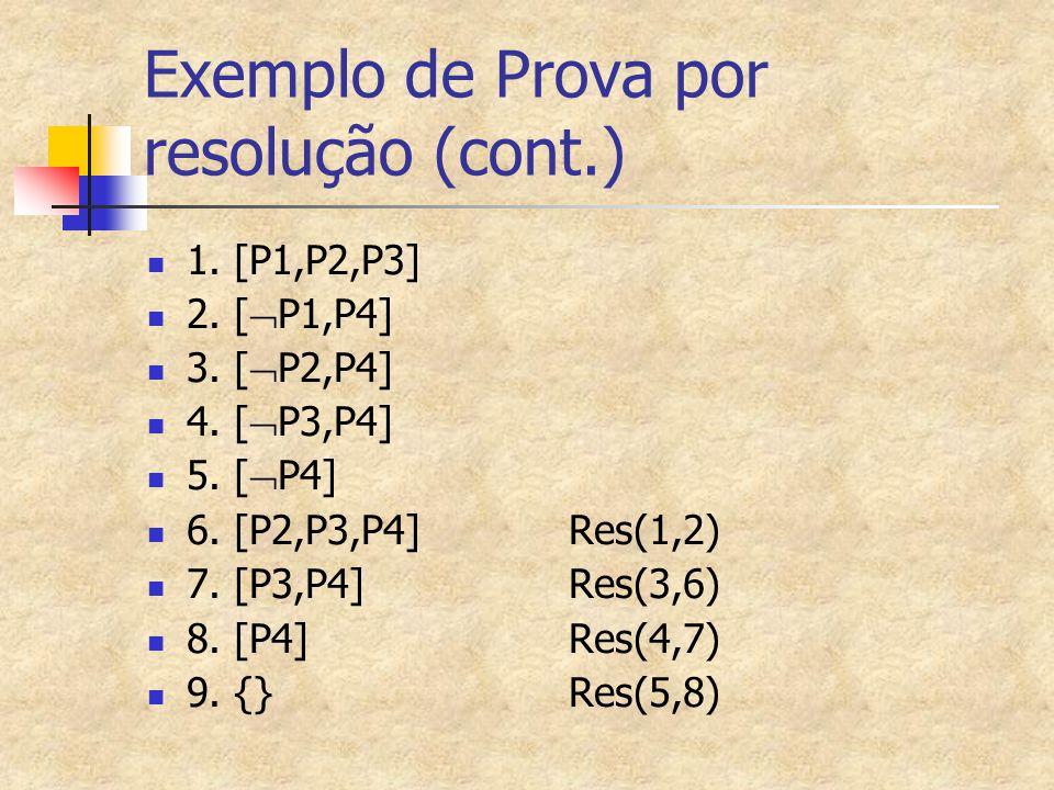 Exemplo de Prova por resolução (cont.)
