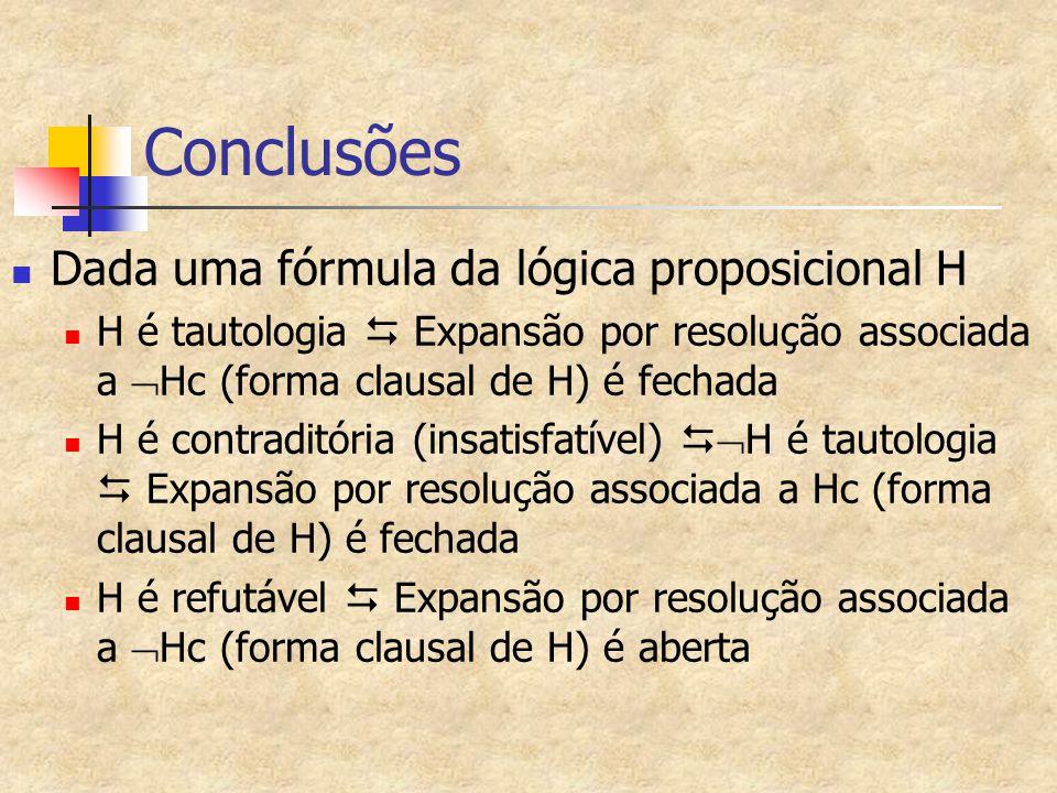 Conclusões Dada uma fórmula da lógica proposicional H