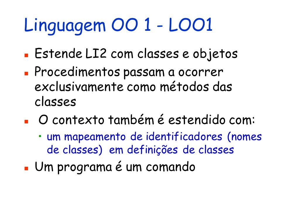 Linguagem OO 1 - LOO1 Estende LI2 com classes e objetos