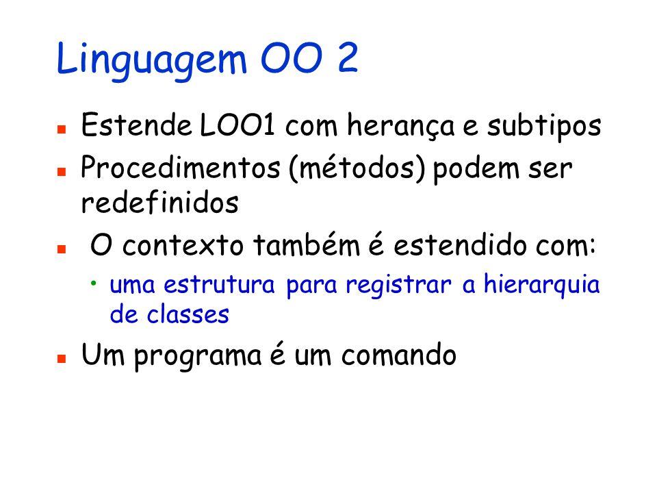 Linguagem OO 2 Estende LOO1 com herança e subtipos