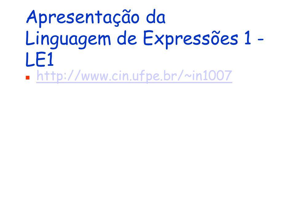 Apresentação da Linguagem de Expressões 1 - LE1