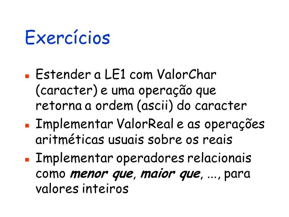 Exercícios Estender a LE1 com ValorChar (caracter) e uma operação que retorna a ordem (ascii) do caracter.