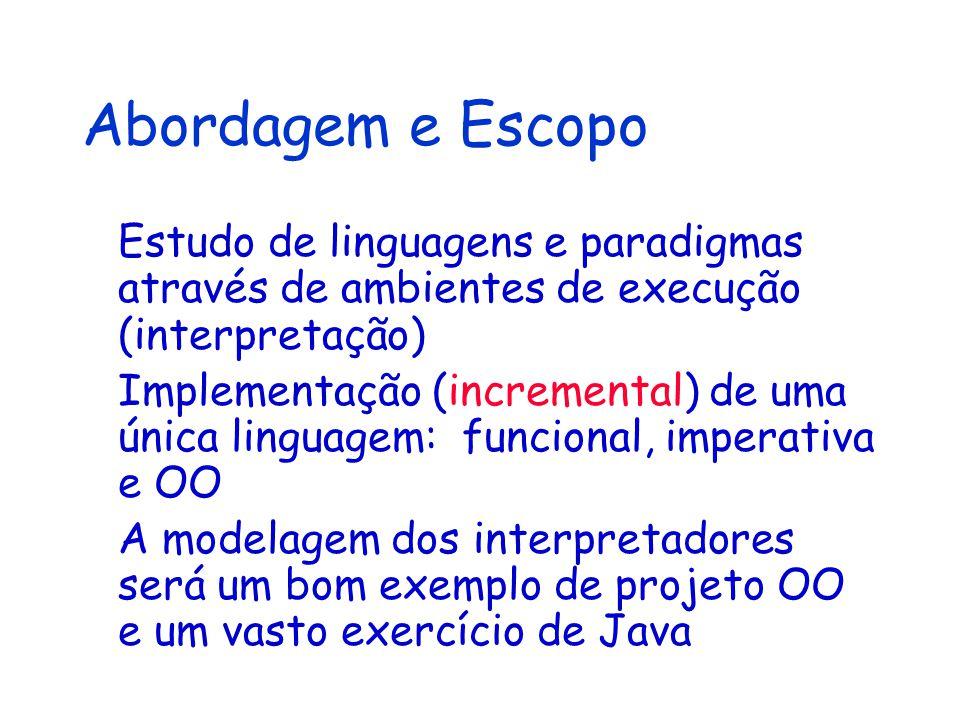 Abordagem e Escopo Estudo de linguagens e paradigmas através de ambientes de execução (interpretação)
