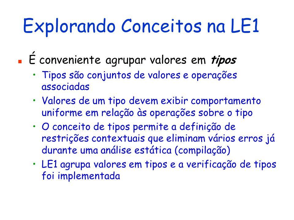 Explorando Conceitos na LE1