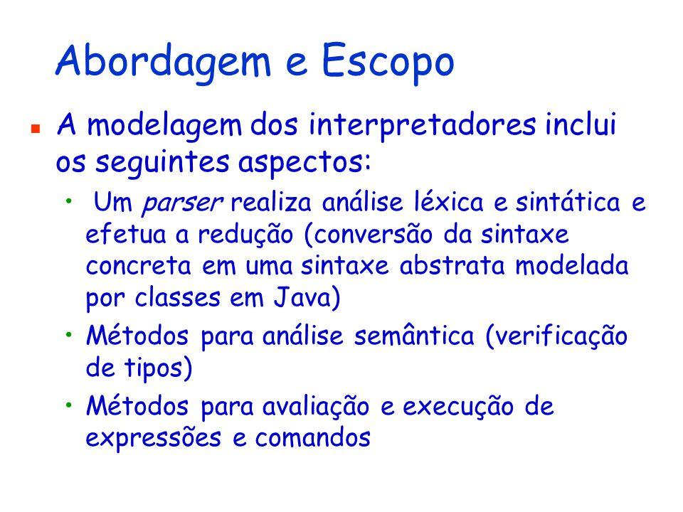 Abordagem e Escopo A modelagem dos interpretadores inclui os seguintes aspectos:
