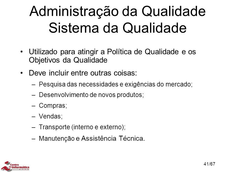 Administração da Qualidade Sistema da Qualidade
