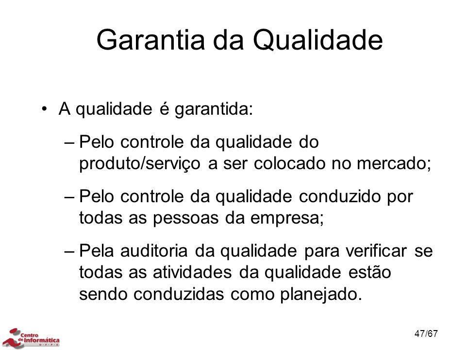 Garantia da Qualidade A qualidade é garantida: