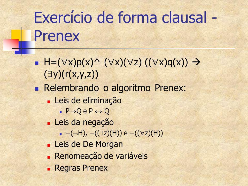 Exercício de forma clausal - Prenex