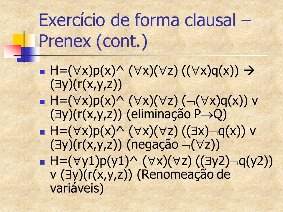 Exercício de forma clausal – Prenex (cont.)