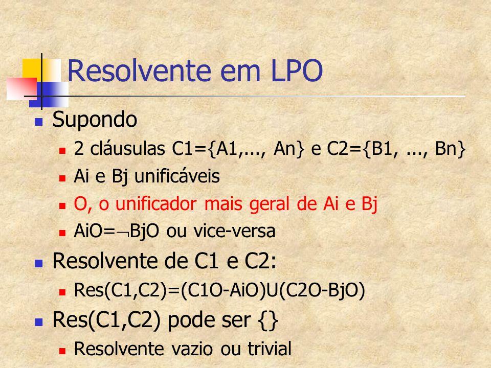 Resolvente em LPO Supondo Resolvente de C1 e C2:
