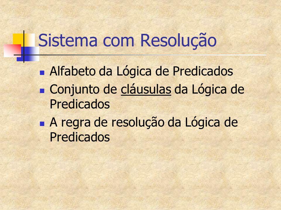 Sistema com Resolução Alfabeto da Lógica de Predicados