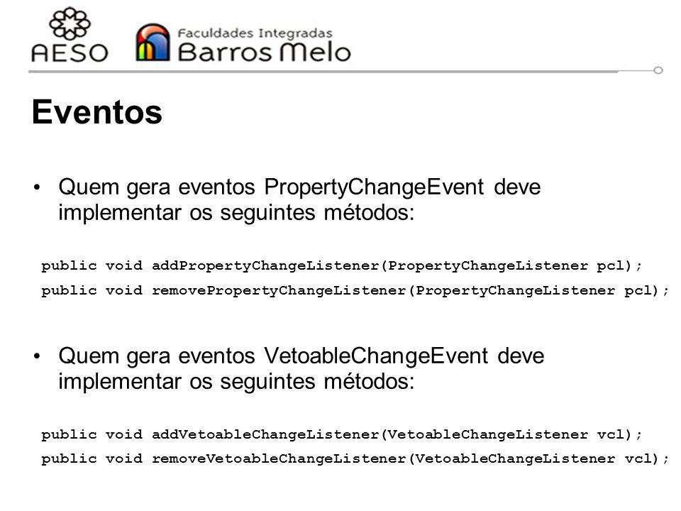 Eventos Quem gera eventos PropertyChangeEvent deve implementar os seguintes métodos: