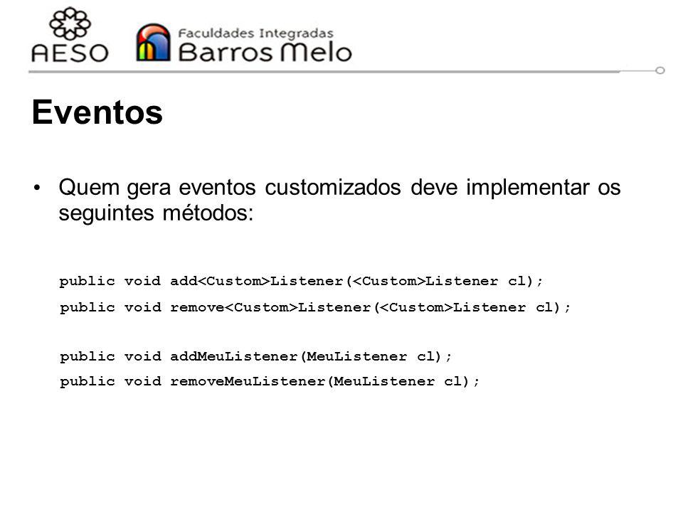 Eventos Quem gera eventos customizados deve implementar os seguintes métodos: public void add<Custom>Listener(<Custom>Listener cl);