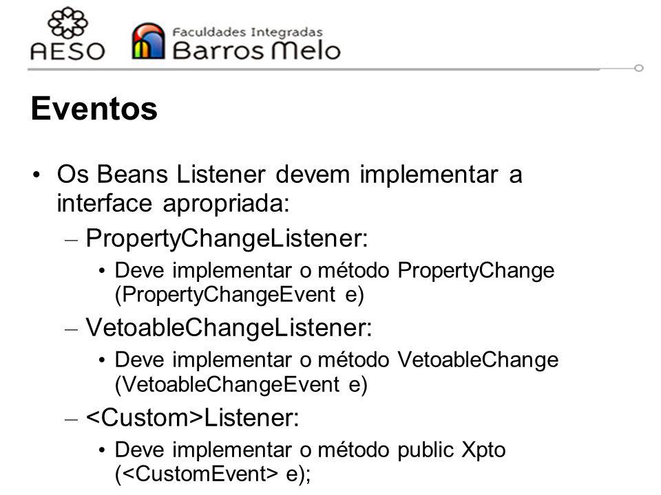 Eventos Os Beans Listener devem implementar a interface apropriada: