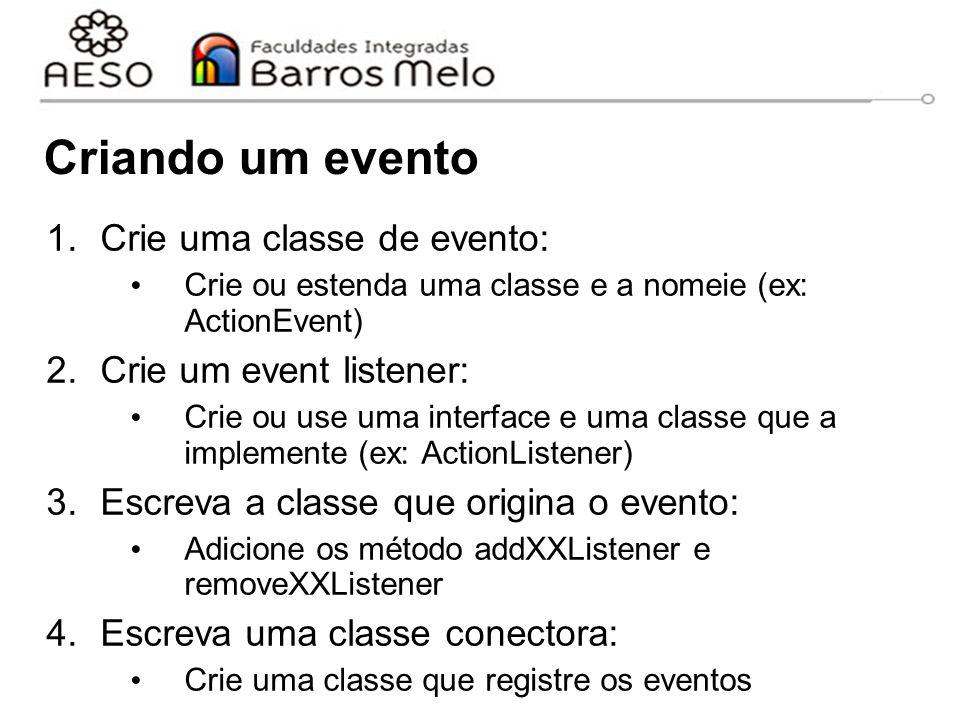 Criando um evento Crie uma classe de evento: Crie um event listener: