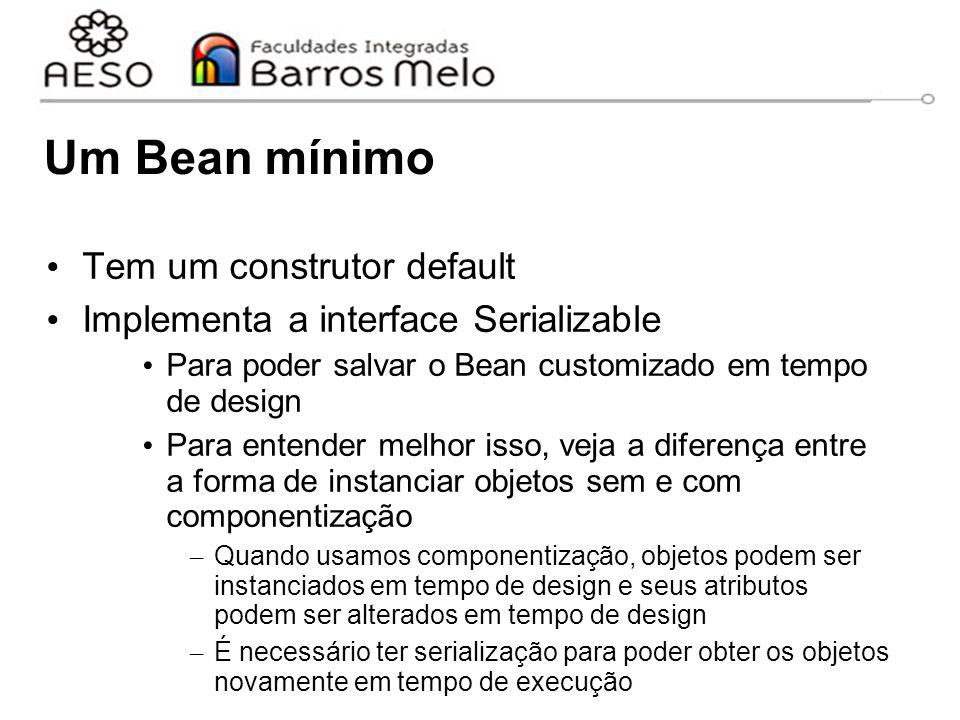 Um Bean mínimo Tem um construtor default