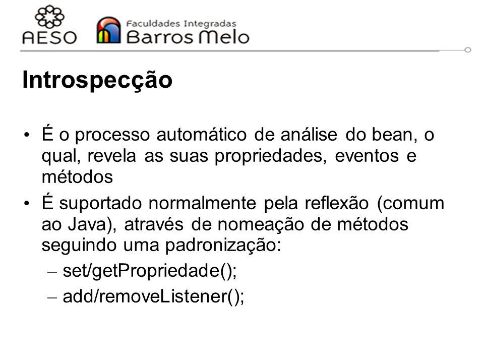 Introspecção É o processo automático de análise do bean, o qual, revela as suas propriedades, eventos e métodos.