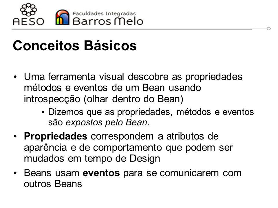 Conceitos Básicos Uma ferramenta visual descobre as propriedades métodos e eventos de um Bean usando introspecção (olhar dentro do Bean)