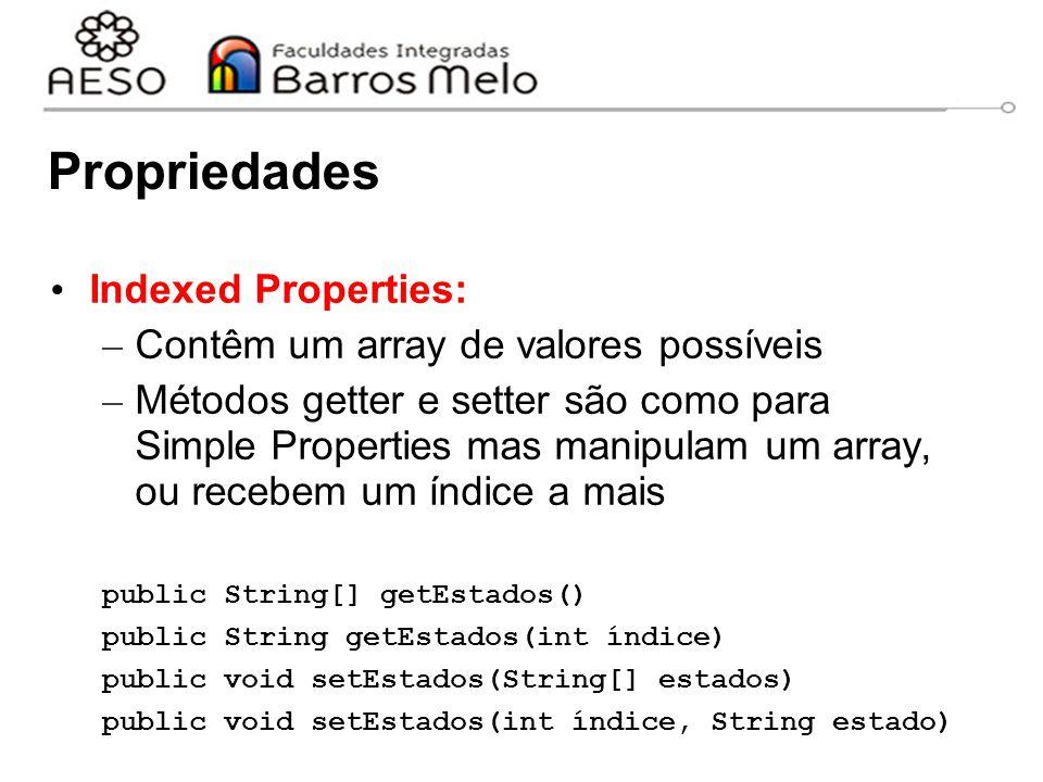 Propriedades Indexed Properties: Contêm um array de valores possíveis