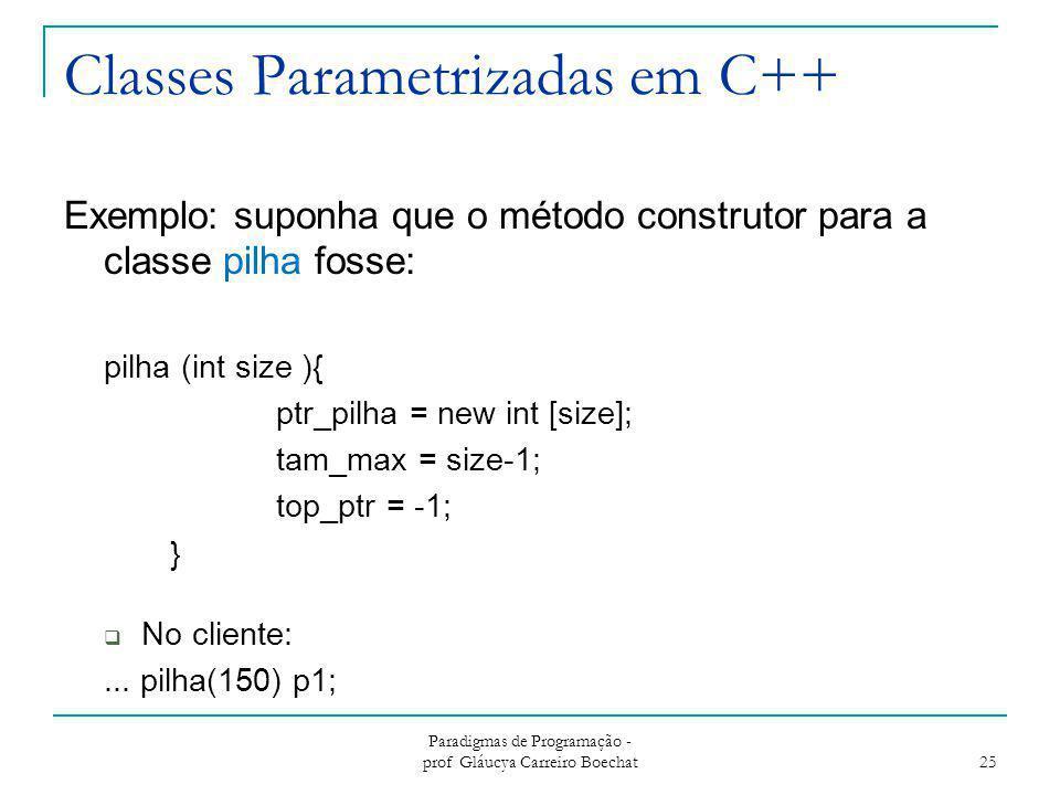 Classes Parametrizadas em C++