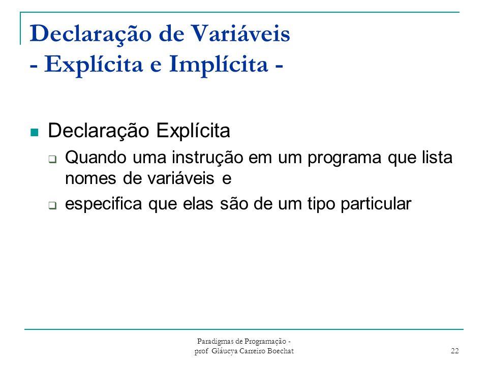 Declaração de Variáveis - Explícita e Implícita -