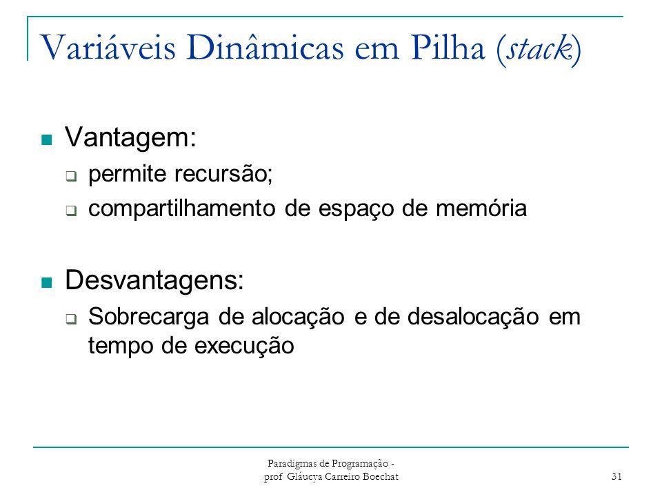 Variáveis Dinâmicas em Pilha (stack)