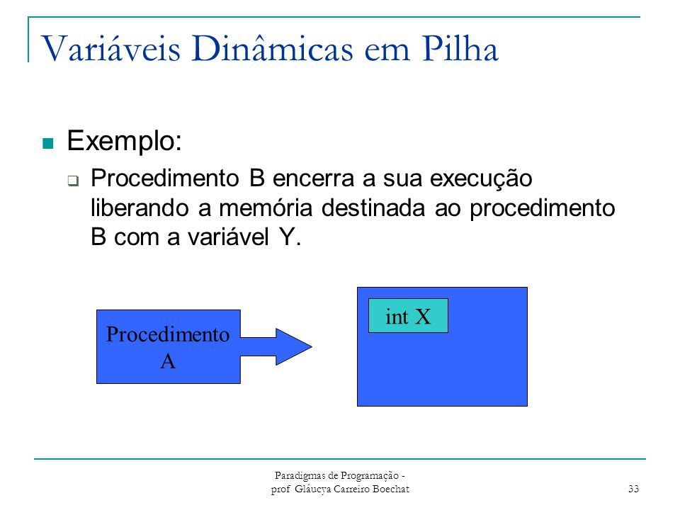 Variáveis Dinâmicas em Pilha