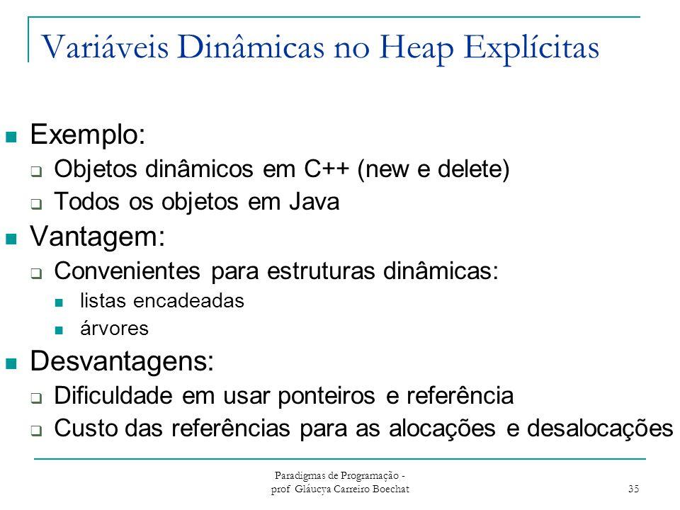Variáveis Dinâmicas no Heap Explícitas