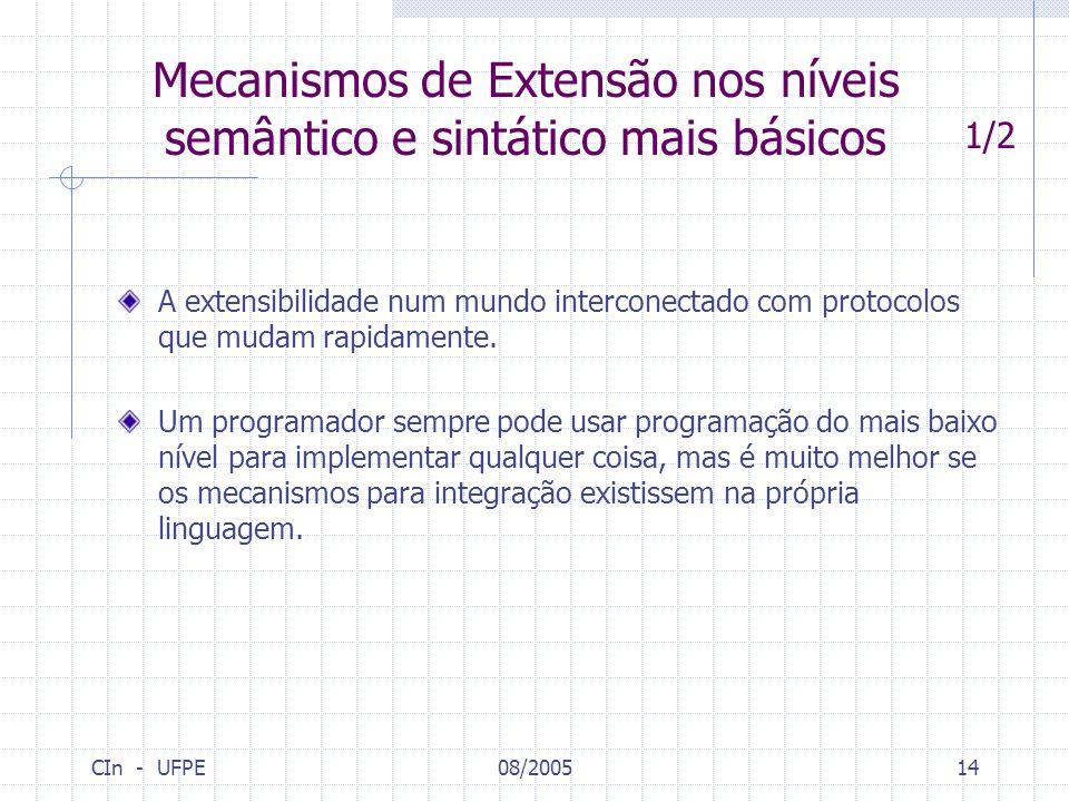Mecanismos de Extensão nos níveis semântico e sintático mais básicos