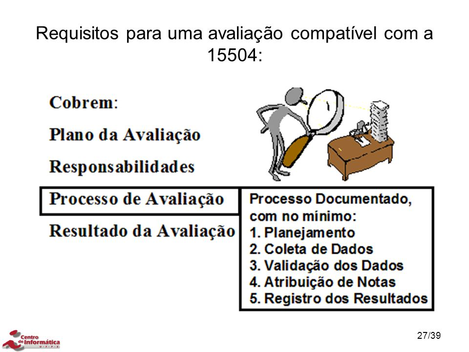 Requisitos para uma avaliação compatível com a 15504:
