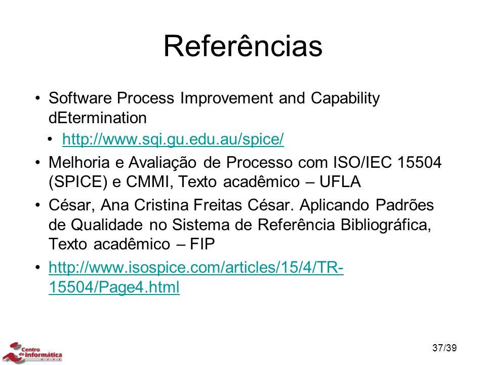 Referências Software Process Improvement and Capability dEtermination