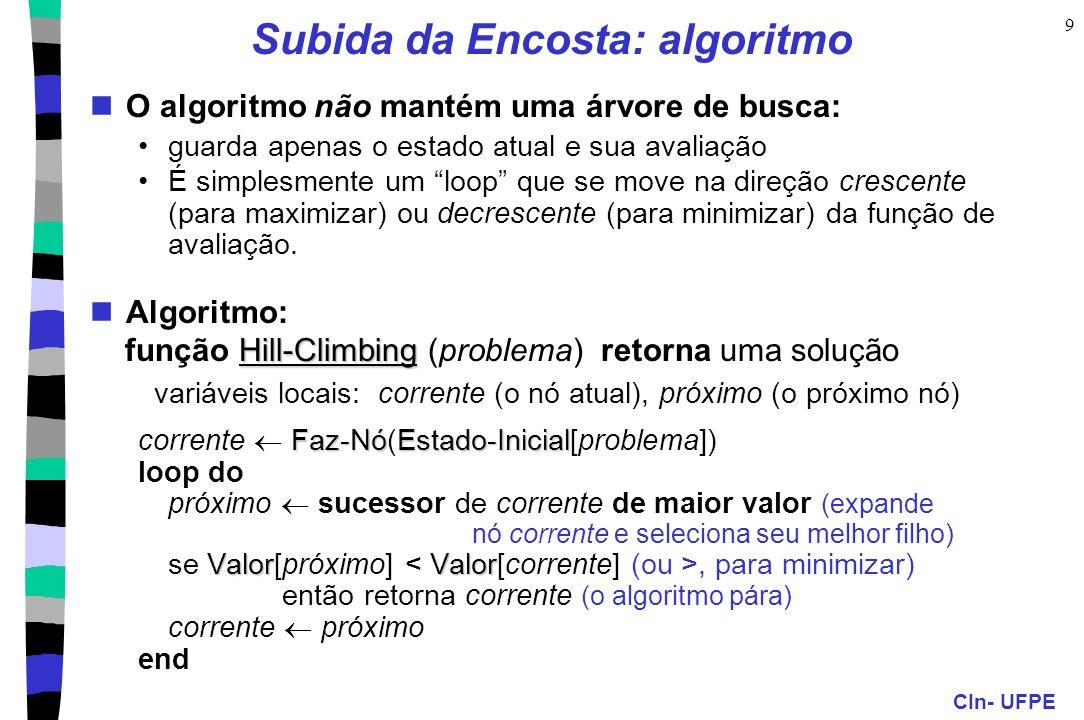 Subida da Encosta: algoritmo
