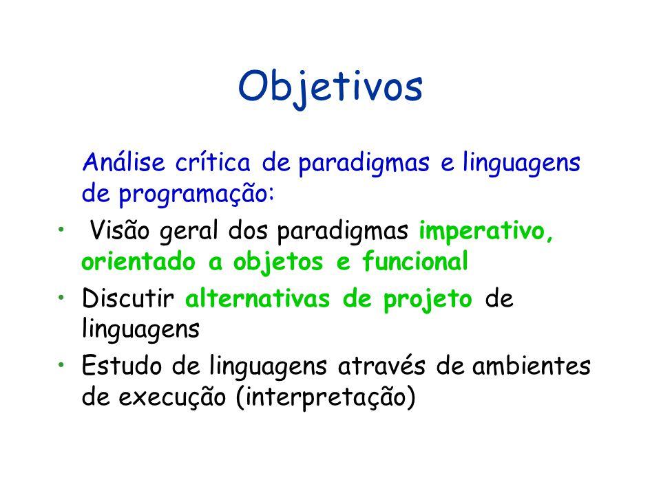Objetivos Análise crítica de paradigmas e linguagens de programação: