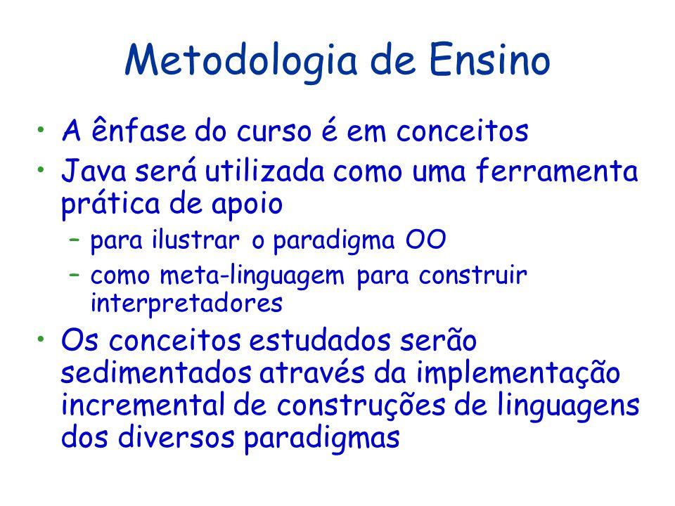 Metodologia de Ensino A ênfase do curso é em conceitos