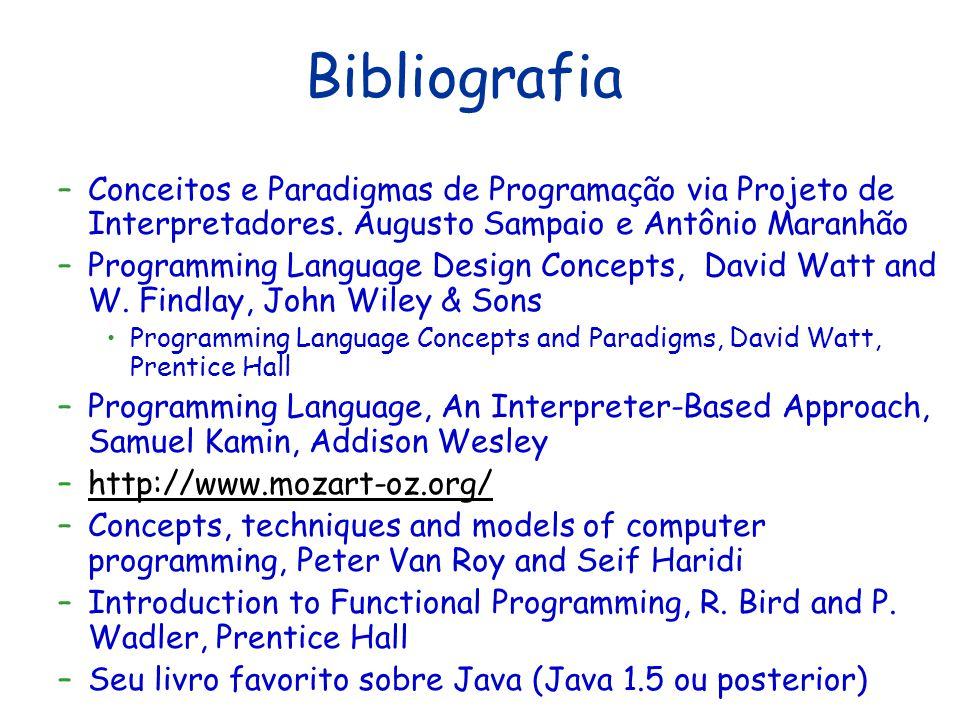 Bibliografia Conceitos e Paradigmas de Programação via Projeto de Interpretadores. Augusto Sampaio e Antônio Maranhão.