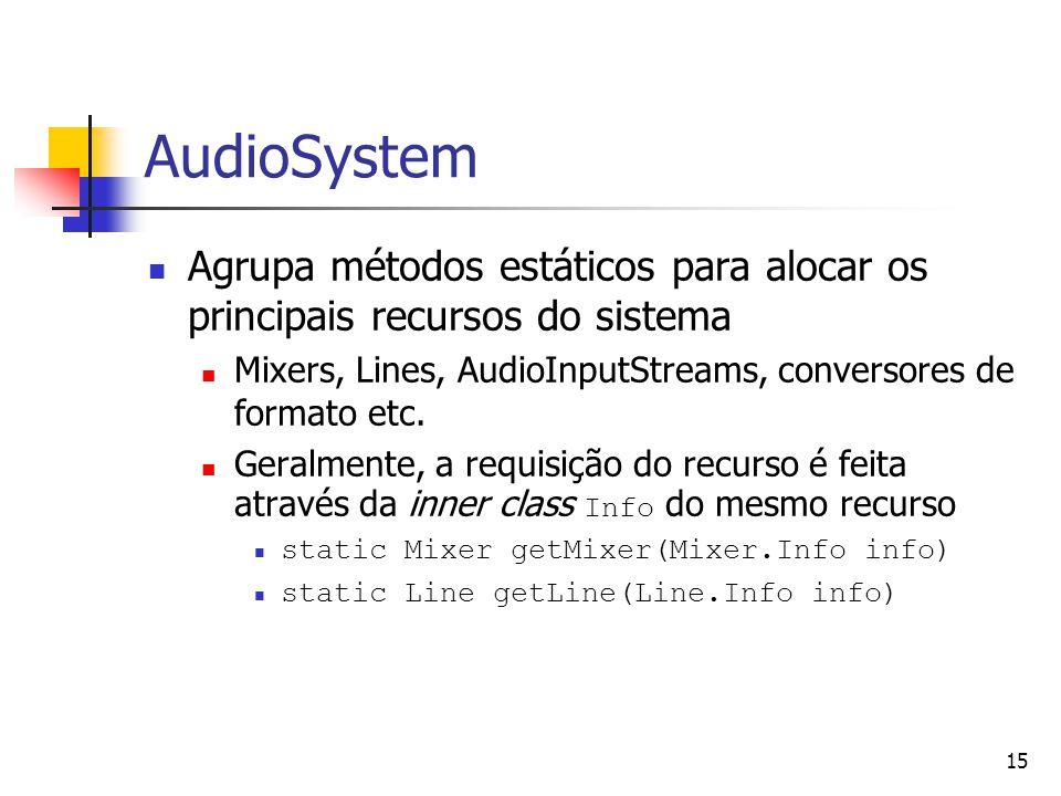 AudioSystem Agrupa métodos estáticos para alocar os principais recursos do sistema. Mixers, Lines, AudioInputStreams, conversores de formato etc.