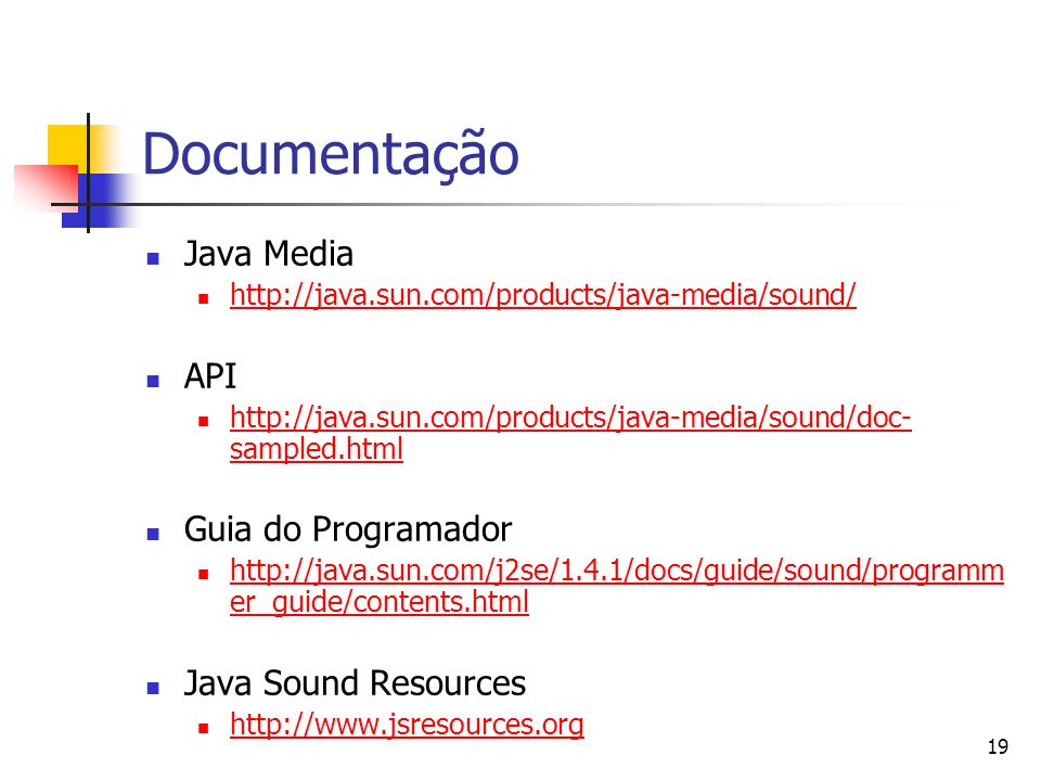 Documentação Java Media API Guia do Programador Java Sound Resources