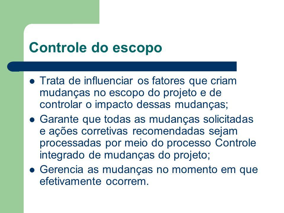 Controle do escopo Trata de influenciar os fatores que criam mudanças no escopo do projeto e de controlar o impacto dessas mudanças;
